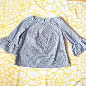 Madewell Blue and White Striped Bell Sleeve Top